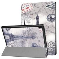 Pattern obrázkové polohovatelné pouzdro pro tablet Lenovo Tab 4 10 Plus - Eiffelova věž a mapa