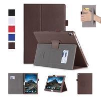 Texture PU kožené pouzdro s držákem na ruku na tablet Lenovo Tab 4 10 Plus - hnědé
