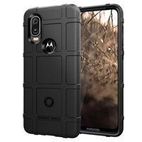 Rugged texturovaný gelový obal na mobil Motorola One Vision / P40 - černý