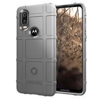 Rugged texturovaný gelový obal na mobil Motorola One Vision / P40 - šedý
