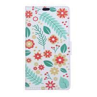 Pattern PU kožené peněženkové pouzdro na mobil Motorola One Vision / P40 - květy