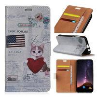 Wallet PU kožené peněženkové pouzdro na mobil Motorola One Vision / P40 - srdce a kočka