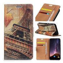 Wallet PU kožené peněženkové pouzdro na mobil Motorola One Vision / P40 - Eiffelova věž 2