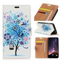 Wallet PU kožené peněženkové pouzdro na mobil Motorola One Vision / P40 - modrý strom