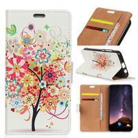 Wallet PU kožené peněženkové pouzdro na mobil Motorola One Vision / P40 - barevný strom