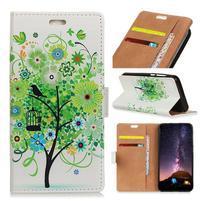 Wallet PU kožené peněženkové pouzdro na mobil Motorola One Vision / P40 - zelený strom