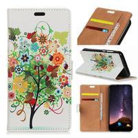 Wallet PU kožené peněženkové pouzdro na mobil Motorola One Vision / P40 - strom a ovoce