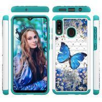 Patterned odolný obal na mobil Samsung Galaxy A20 / Galaxy A30 - modrý motýl