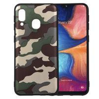 Camouflage gelový obal na mobil Samsung Galaxy A20e - zelený