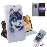 Stand PU kožené peněženkové pouzdro na mobil Sony Xperia 1 - vlk