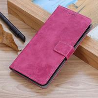 Retro kožené peněženkové pouzdro na Samsung Galaxy A70 - rose