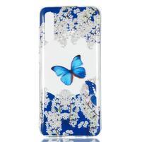 Patty gelový obal na Samsung Galaxy A70 - motýl a bílé květiny
