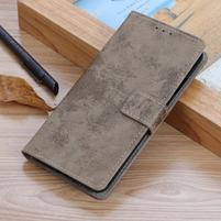 Retro kožené peněženkové pouzdro na Samsung Galaxy A70 - khaki