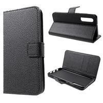 Stand PU kožené peněženkové pouzdro pro Huawei P30 - černé