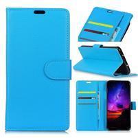Texture PU kožené peněženkové pouzdro na Huawei P30 - modré