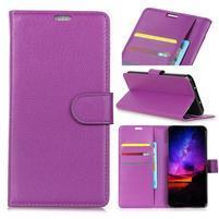 Texture PU kožené peněženkové pouzdro na Huawei P30 - fialové