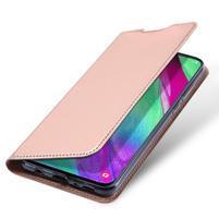 DUX PU kožené pouzdro na Samsung Galaxy A40 - růžovozlaté