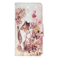 Decor PU kožené peněženkové pouzdro na Samsung Galaxy A40 - kočka a květiny