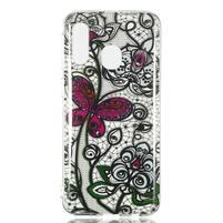 Printy silikonový obal na Samsung Galaxy A40 - krajka a motýl