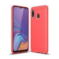 Carbon gelový odolný obal na Samsung Galaxy A40 - červený
