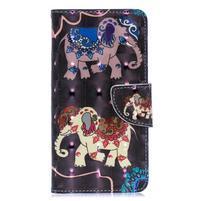 Decor PU kožené peněženkové pouzdro na Samsung Galaxy A40 - slon