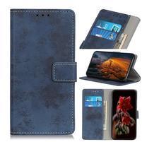Vintage PU kožené peněženkové pouzdro na Samsung Galaxy M30 - modré