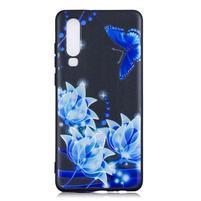 Patte silikonový kryt pro Huawei P30 - modrý motýl