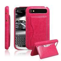 PU kožený kryt se stojánkem na BlackBerry Classic - rose