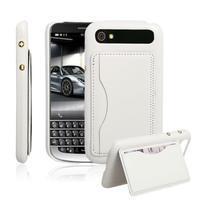 PU kožený kryt se stojánkem na BlackBerry Classic - bílé