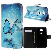 PU kožené pouzdro na mobil Honor 5X - motýl