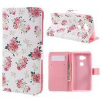 PU kožené pouzdro na mobil Honor 5X - květiny