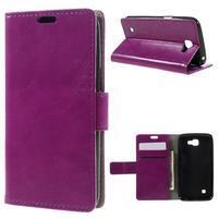 Fialové peněženkové pouzdro na LG K4