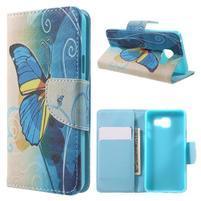 Peněženkové pouzdro na mobil Samsung Galaxy A3 (2016) - modrý motýl