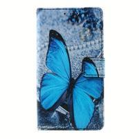 Peněženkové pouzdro na mobil Lenovo A536 - modrý motýl