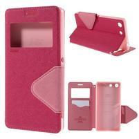 Diary pouzdro s okýnkem na Sony Xperia M5 - rose