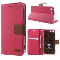 Wall PU kožené pouzdro na mobil Sony Xperia M5 - rose