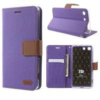 Wall PU kožené pouzdro na mobil Sony Xperia M5 - fialové
