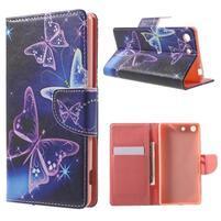 Stand peněženkové pouzdro na Sony Xperia M5 - magičtí motýlci