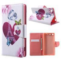 Stand peněženkové pouzdro na Sony Xperia M5 - láska Eiffelka
