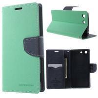 Goos PU kožené penženkové pouzdro na Sony Xperia M5 - cyan