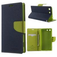 Goos PU kožené penženkové pouzdro na Sony Xperia M5 - tmavěmodré