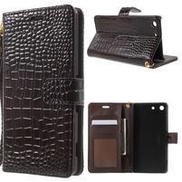 Croco peněženkové pouzdro na mobil Sony Xperia M5 - coffee