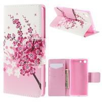 Crafty peněženkové pouzdro na Sony Xperia M5 - kvetoucí větvička