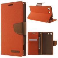 Canvas PU kožené / textilní pouzdro na Sony Xperia M5 - oranžové