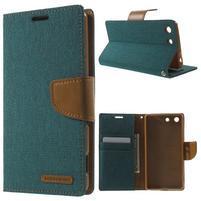 Canvas PU kožené / textilní pouzdro na Sony Xperia M5 - zelenomodré
