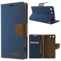 Canvas PU kožené / textilní pouzdro na Sony Xperia M5 - modré