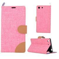 Jeans peněžnkové pouzdro na mobil Sony Xperia M5 - růžové