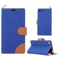 Jeans peněžnkové pouzdro na mobil Sony Xperia M5 - modré