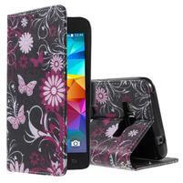 Wallet PU kožené pouzdro na mobil Samsung Galaxy Grand Prime - kouzelní motýlci