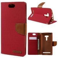 Canvas PU kožené/textilní pouzdro na Asus Zenfone Selfie ZD551KL - červené